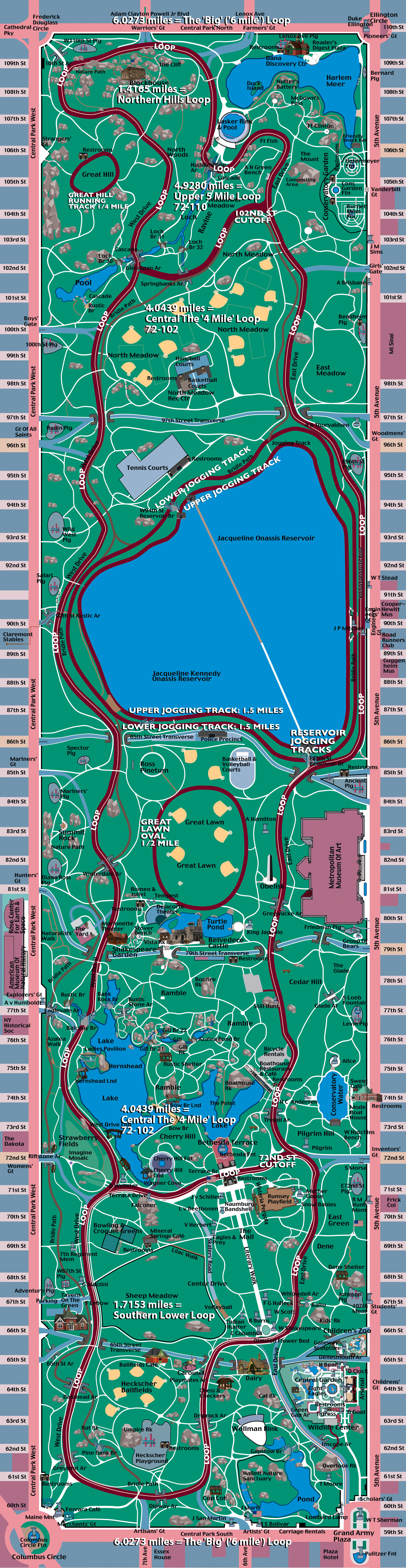 MIF Central Park Illustrated Runners Map